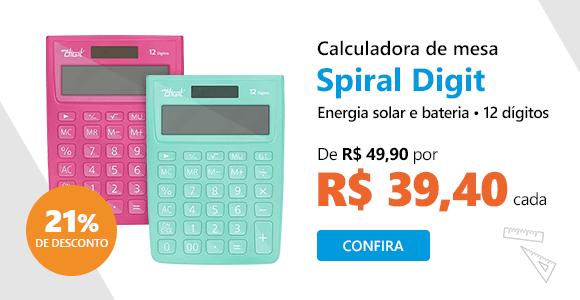 Calculadora de mesa (bat/solar/12 dig.) 1238 Spiral Digit com 21% de desconto
